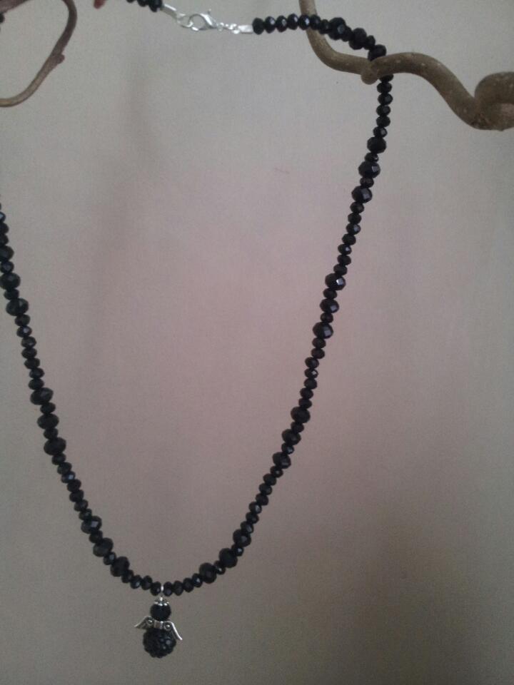 Black crystal angel necklace