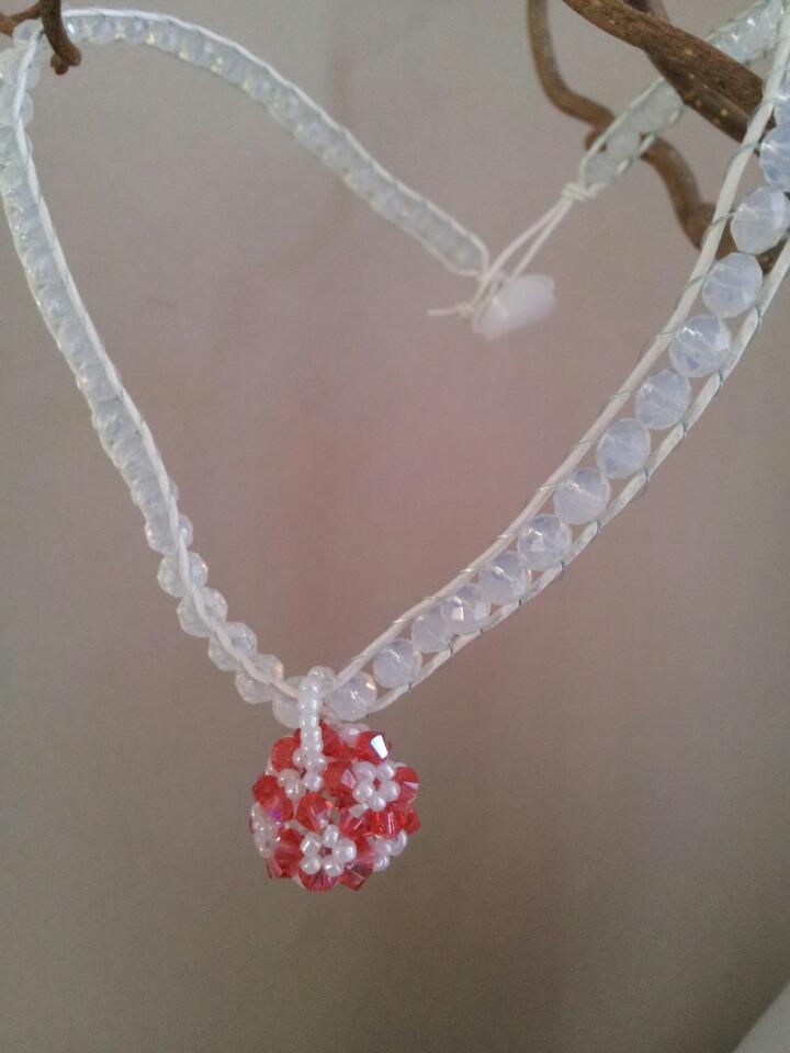 padparadscha swarovski ball necklace