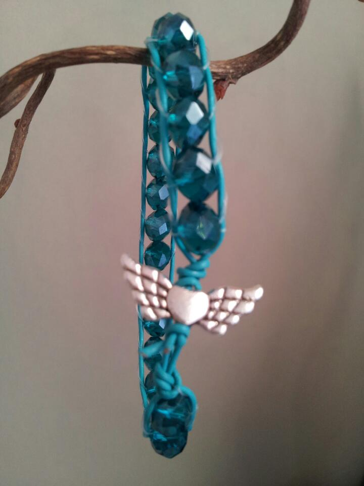 blue wrap leather bracelet