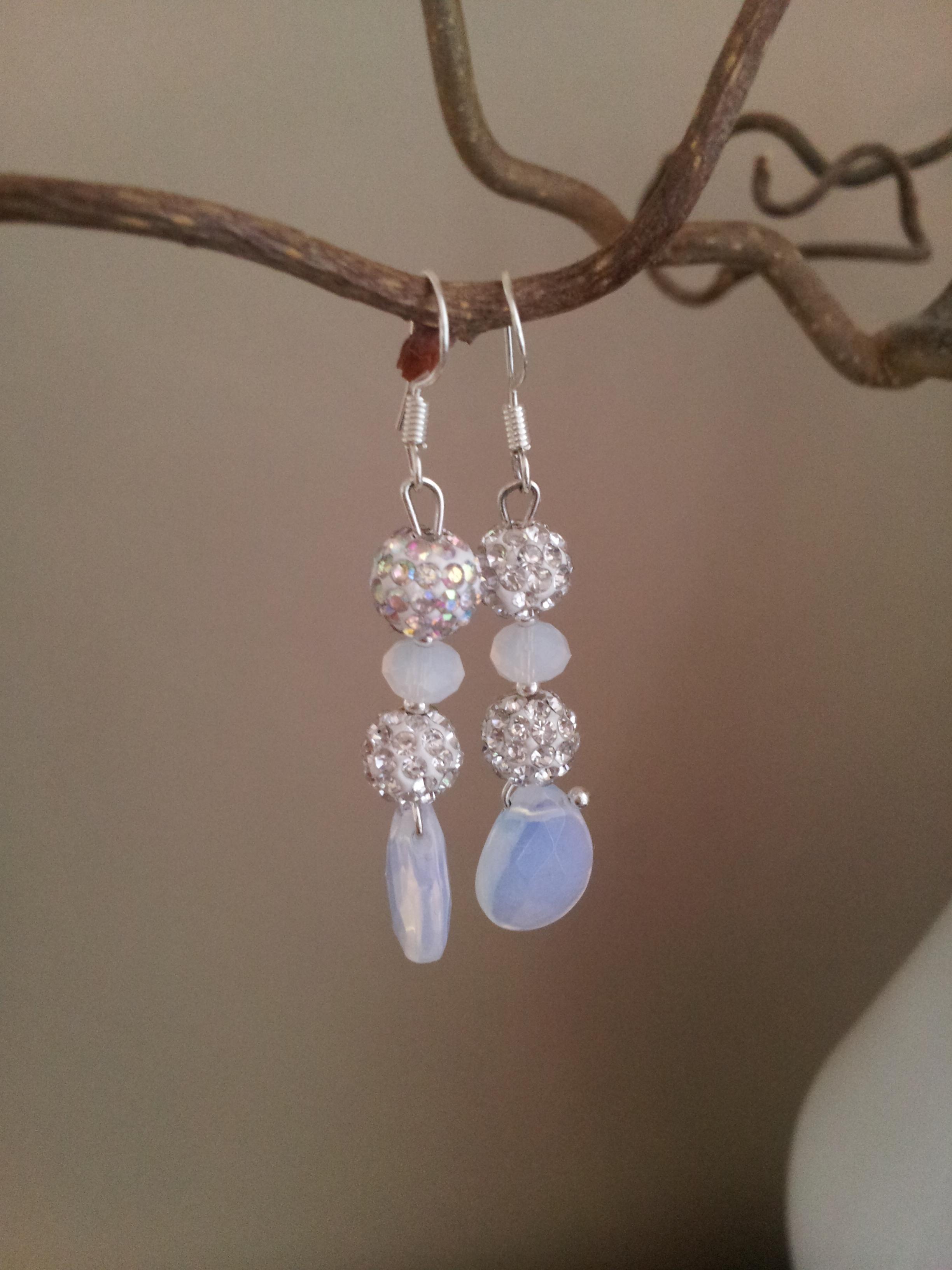 moonstone shamballa earrings