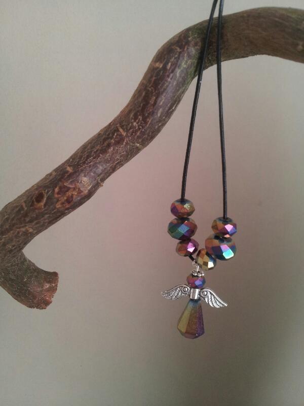 multicolor crystal Angel necklace