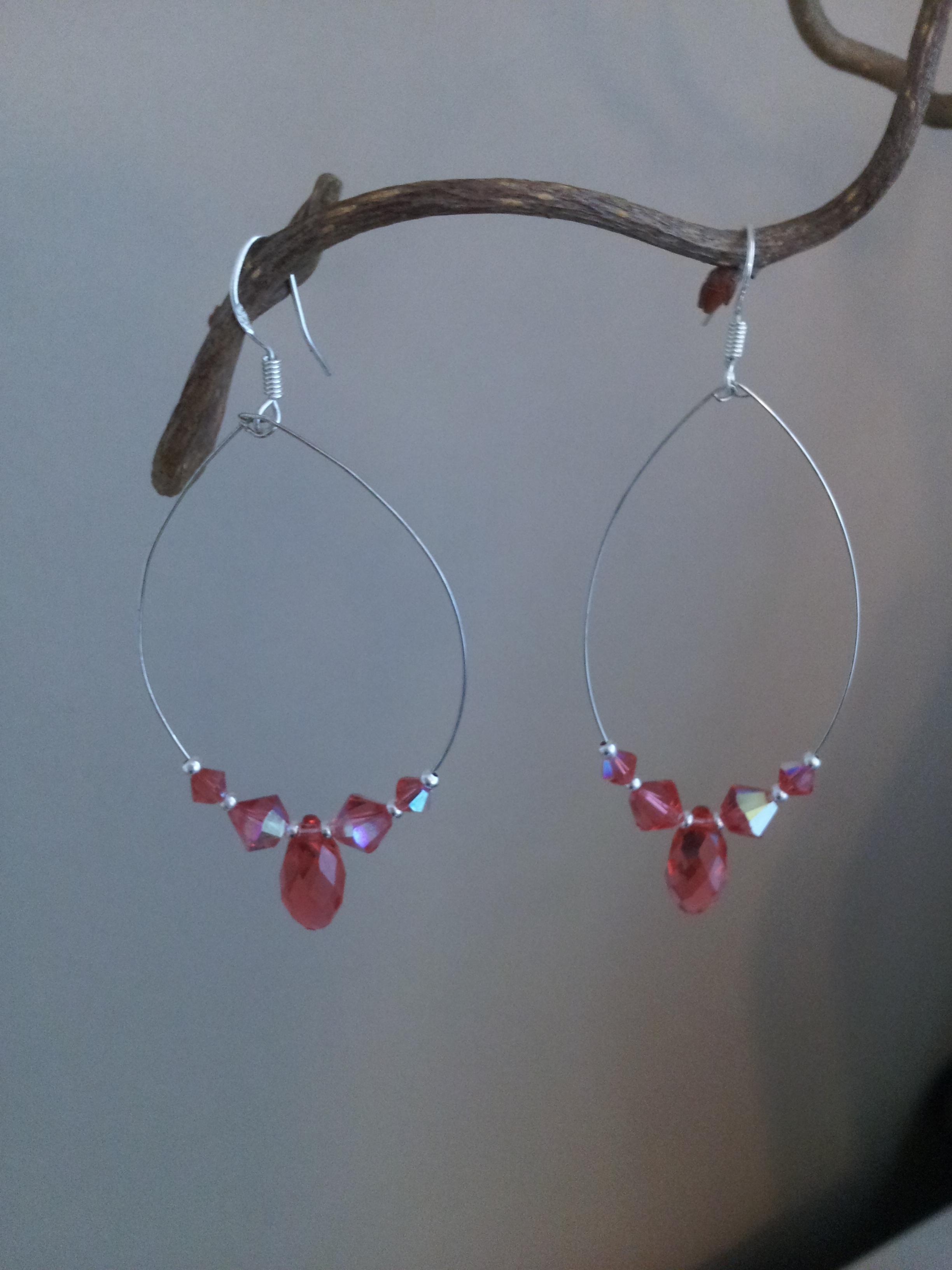 padparadscha 925 silver loop earrings